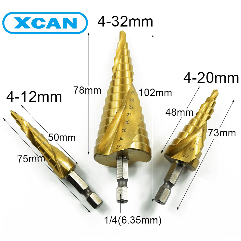 3Pcs Set HSS Titanium 4-12/20/32mm Spiral Grooved Hex shank Metal Step Drill Bit Hole Cutter Cone Core Drilling Hole Saw Tool high quality 4 32mm hss metal steel step drill bit pagoda shape hex shank pagoda hole cutter cut tool a single pack best price