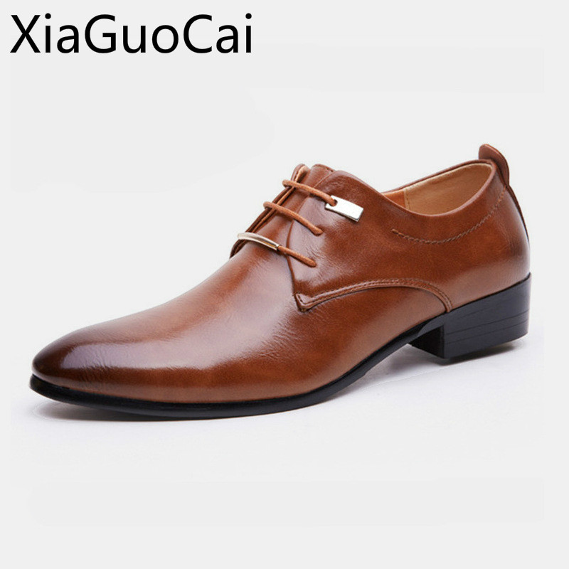 Retro Vintage High Quality Mens Waterproof Dress Shoes Low Top Lace Up Solid Mens Formal Shoes Flat Oxfords