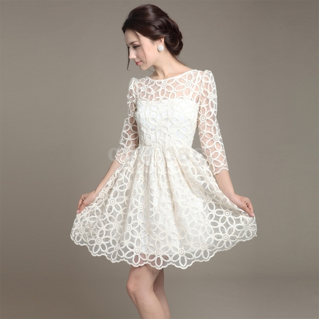 34 sleeve autumn summer lace flower dress for women elegant sweet 34 sleeve autumn summer lace flower dress for women elegant sweet casual one mightylinksfo