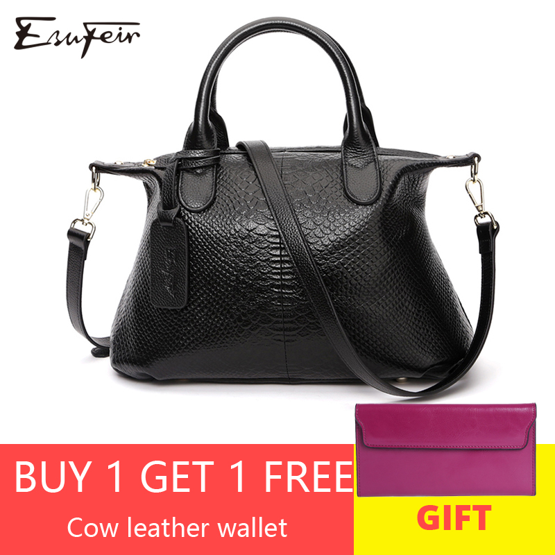 ESUFEIR 100 Genuine Leather Women Shoulder Bag Brand Luxury Handbags Women Bags Designer Serpentine Leather Women