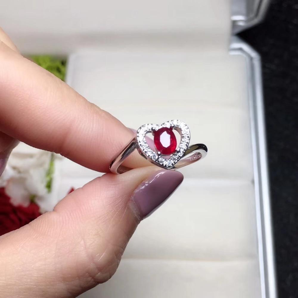 Mode romantique coeur pêche naturel rouge rubis gemme anneau naturel pierre gemme anneau S925 argent femmes fille cadeau de mariage bijoux de fête