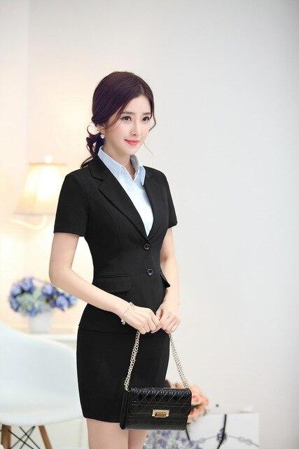 Новый 2015 летом единый дизайн элегантный черный мода тонкий профессиональные рабочие костюмы куртки и юбка женский пиджаки наряды комплект
