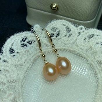 shilovem 18k yellow Natural freshwater pearls Drop Earrings fine Jewelry women trendy wedding gift new myme8-09zz