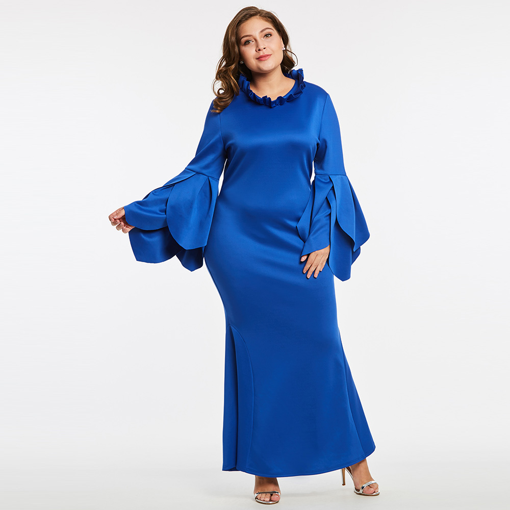 Women Patel Sleeve Party Dress Ruffle Stand Collar Trumpet Mermaid Dress 2018 Royal Blue ...