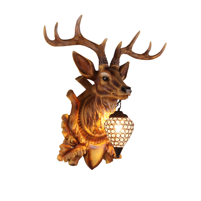 KINLAMS Modern Country Style Vintage Antler Wall Lamp Personality Deer Lamp For Bedroom Buckhorn Wall Lamp Fixture With E14 Bulb