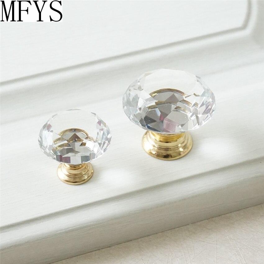 US $3.42 10% OFF Gold Klar Glas Knöpfe Kristall Knopf Kommode  Zieht/Schublade Knöpfe Zieht Griffe Küche Schrank Griffe Sparkly Furinture  Bling-in ...