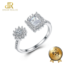 DR Korean Style Diamond Jewelry Opening Rings Shiny Zircon S
