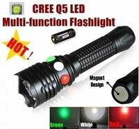 كري q5 الصمام إشارة الضوء الأخضر الأبيض الأحمر مضيا الشعلة مشرق ضوء مصباح إشارة ل 1x18650 أو 3 × aaa بطارية