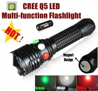 CREE Q5 LED signal light Green White Red LED Flashlight Torch Bright light signal lamp For 1x18650 or 3 x AAA Battery