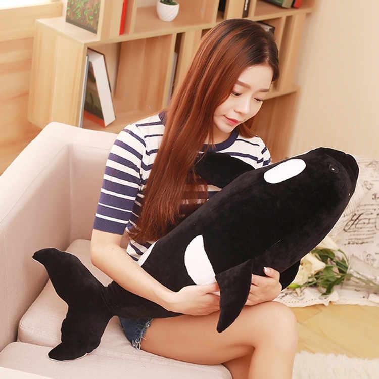 Medio formato peluche nero killer whale giocattolo nuova balena cuscino regalo bambola circa 80 cm