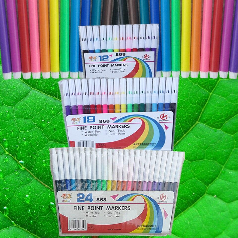 Набор маркеров для рисования, 12-24 цвета, детский водяной маркер, безопасные нетоксичные школьные канцелярские принадлежности для здоровья ...