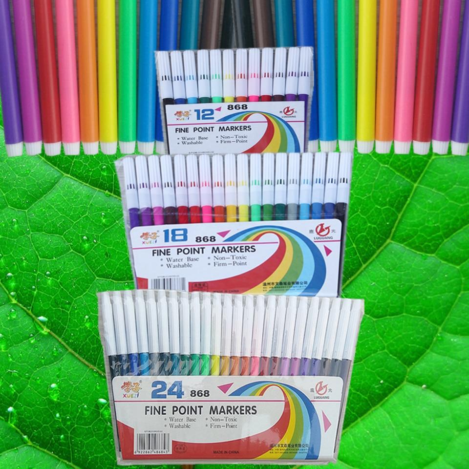 Graffiti Supplies 12-24 Color Art Marker Pens Drawing Set Colors Children Watercolor Pen Safe Non-toxic Health School Stationery