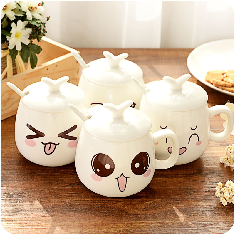 Coffee Milk Juice Mug Cups Cute Ceramic Cup Household Portable Fashion Mugs With Lid Spoon Tea