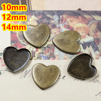 Cabochon 10mm,12mm,14mm 500pcs Antique Bronze Heart Blank Pendant Trays Bases Cameo Cabochon Setting for Glass/Stickers