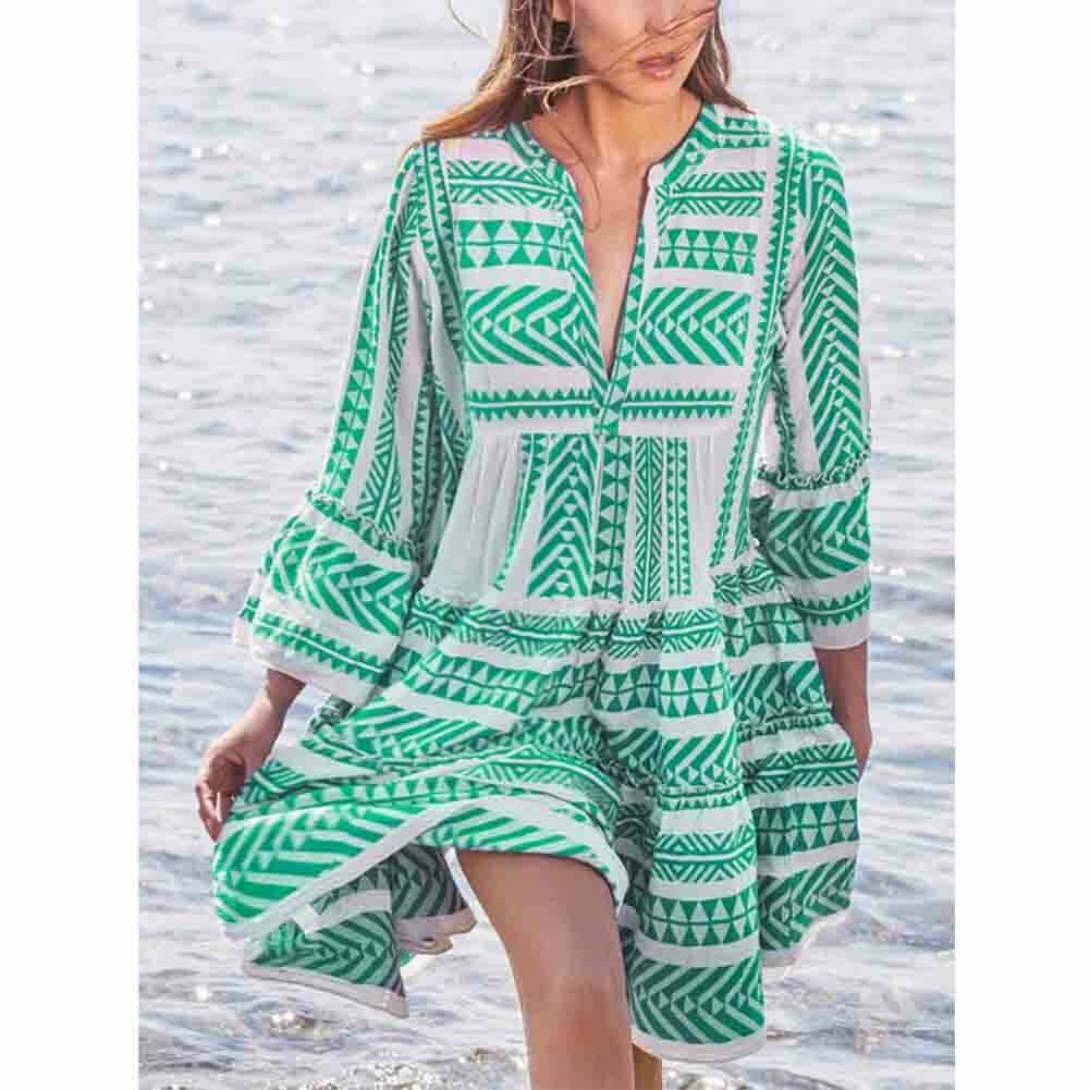 New Ladies Women Fashion Boho Summer Smock Swing Dress Tops Holiday Beach Casual V Neck Loose Frill Sundress