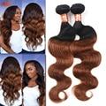 Grade 7a Ombre Peruvian Virgin Hair Body Wave 2pcs Peruvian Body Wave 2 Toned Ombre 1b 30 Dark Brown Human Hair Weave Bundles