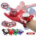 1 PC 24 cm Spiderman Adulto Crianças Adequado & Batman & Capitão América & Iron Man Cosplay Glove Lançadores de Brinquedos com Caixa de Presente Fino