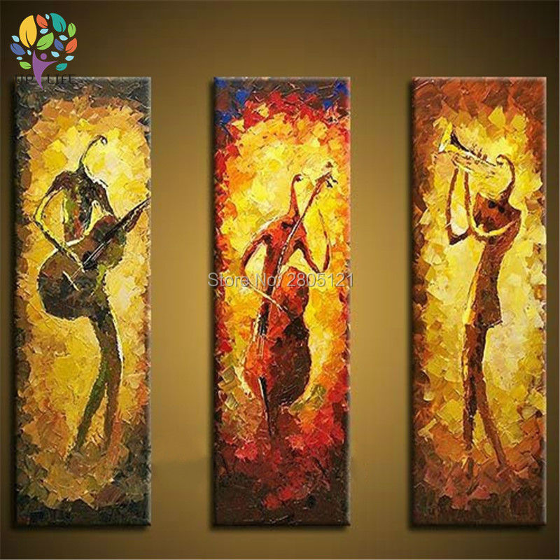 Us 29 98 Hand Painted Abstract Painting Music Instruments Wall Picture 3 Piece Canvas Art Decoraton Surprise The Musician Under Spotlight In