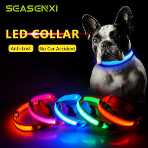 Glowing LED Dog Collar Anti-Lost Nylon Light Collar For Dogs Puppy at Night Cool Pug
