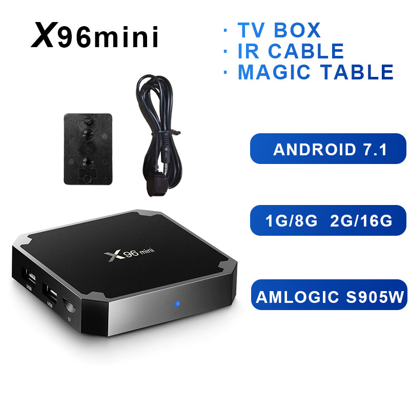 Original X96mini Android 7.1X96 mini Smart TV BOX 4 karat * 2 karat Quad Core Amlogic S905W Unterstützung 2,4 WIFI + IR Kabel VS X92