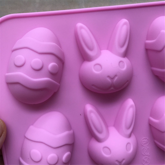12 Cavity Silicone Easter Eggs Rabbit Shape Chocolate Mold
