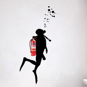 Огнеупорный аквалангист настенные художественные наклейки для украшения офиса, огнетушитель Маскировка виниловая настенная наклейка офи...