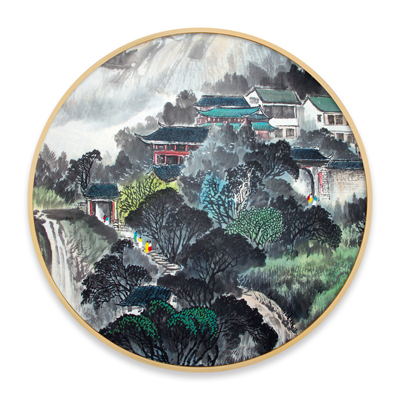 Chinese classical style Ink landscape painting living room Round modern minimalist decorative painting Corridor wall painting
