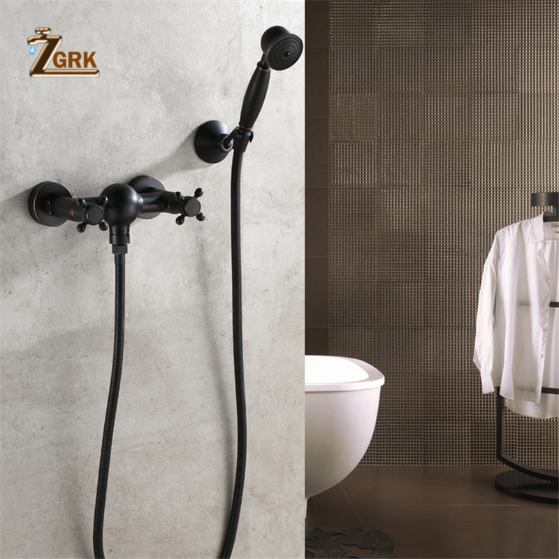 ZGRK Luxury Bathroom Black Shower Faucet with Hand Shower Wall Mount Single Handle Solid Brass Bathtub Shower Mixer