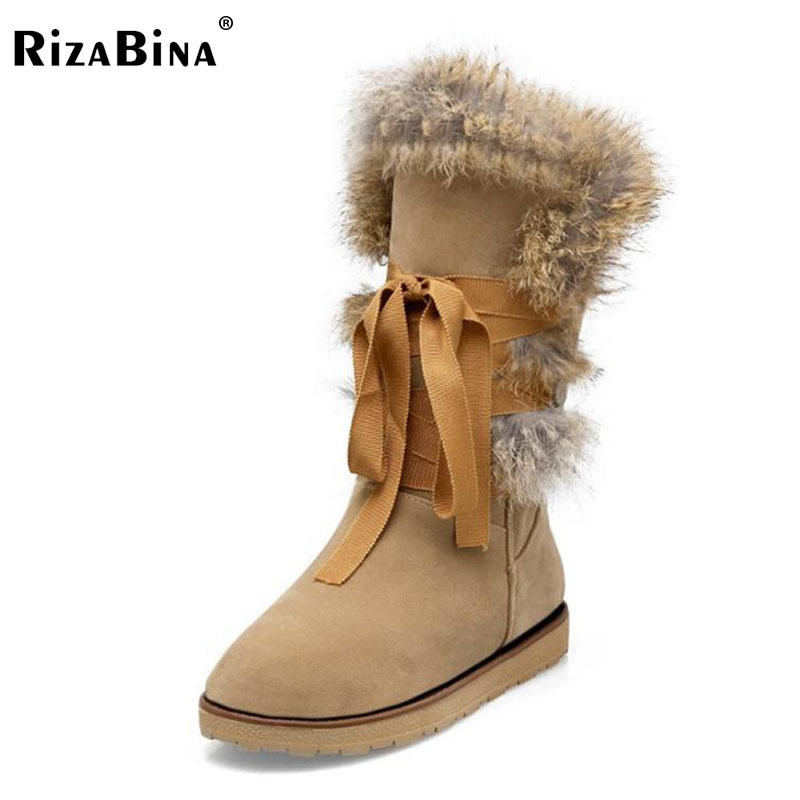RizaBina Size 34-43 Cold Winter Shoes Women Thick Fur Inside Mid Calf Snow Boots For Women Cross Tied Warm Plush Winter Botas rizabina cold winter snow shoes women real leather warm fur inside ankle boots women thick platform warm winter botas size 34 39