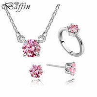 Best Crystals Jewelry Set Silver Plated Austrian AAA Zircon Natural Stone Necklace Earrings Ring Wedding Set For Bridal