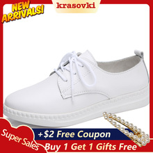 Krasovki Single Shoes Women Spring Autumn Flat Lace Up Casual Leather Soft Bottom Dropshipping Slip Proof Small White