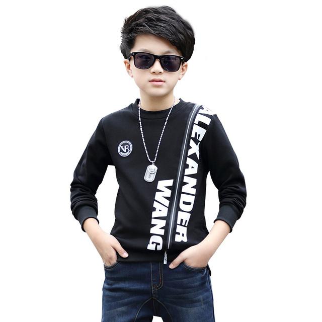 Primavera 2017 Crianças Roupas Meninos Nova Letra Da Forma do Projeto Longo-luvas de Algodão Quente Meninos Camisas Casual Crianças Pullovers Outwear