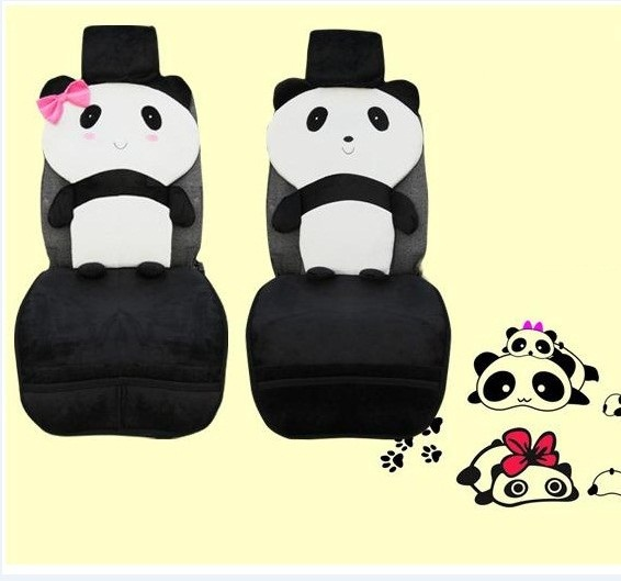 cartoon panda car seat cover universal fit cute seat covers sets plush car accessories black and. Black Bedroom Furniture Sets. Home Design Ideas