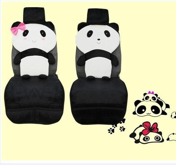 Cartoon Panda Car Seat Cover UNIVERSAL FIT Cute Covers Sets Plush Accessoriesblack