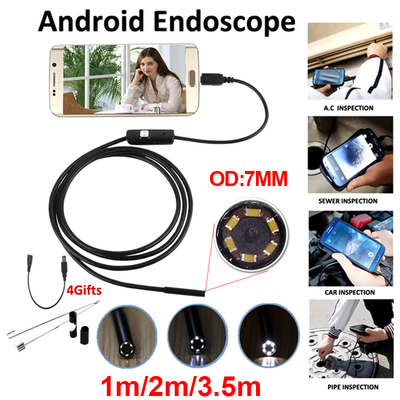 Antscope Endoscope 7mm Mini USB Android Endoscope Camera 1M 2M 3.5M Inspection Snake Tube MicroUSB Borescope Camera Endoskop chinscope 99d 2 4 inspection endoscope diameter 3 9mm camera 1m tube length snake industrial endoscope with carrying box case