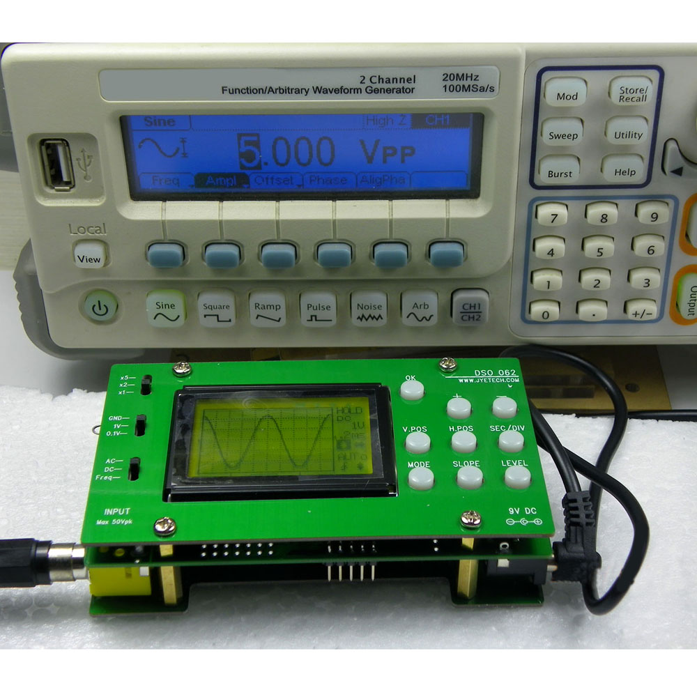 Electronic 2016 New Mini LCD Digital Oscilloscope DIY Kit DSO062 1M Banwidth 2Msps Real time Sampling