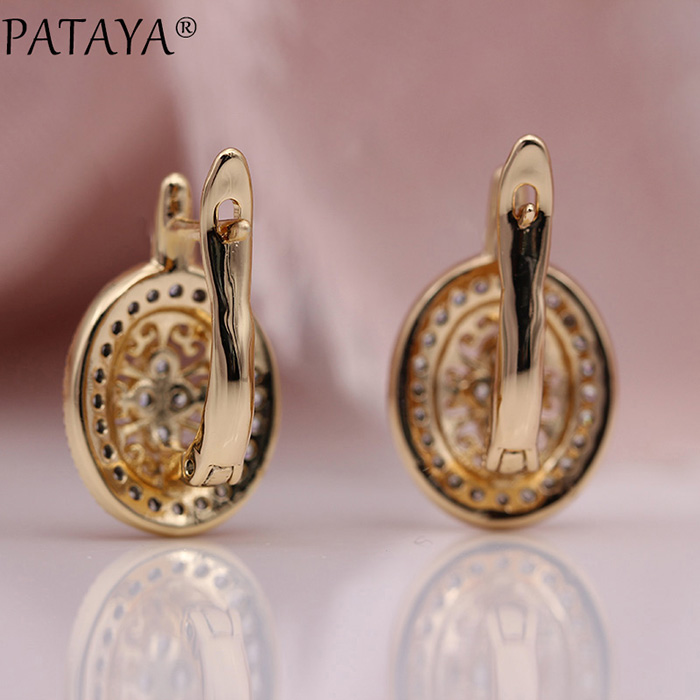 HTB1EYl8KkvoK1RjSZPfq6xPKFXa5 - PATAYA New Micro Wax Inlay Hollow Drop Earrings Women Luxury Wedding Fashion Jewelry 585 Rose Gold Natural Zircon Flower Earring