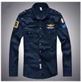 2016 dos homens da marca primavera camisa masculina Aeronautica militare Air Force One 1 t-shirt, mens causal manga longa Bordado camisa de t