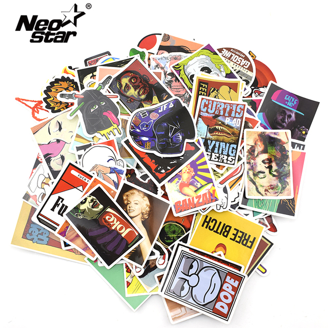 Neo star 50 pcs pack vinyl decal waterproof stickers skin for laptop notebook classic fashion