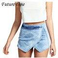 32-42!! 2017 mujeres de moda de verano irregular jeans cortos, mujer fina delgada pantalones cortos de cintura alta pantalones vaqueros de mezclilla niñas corto MH581