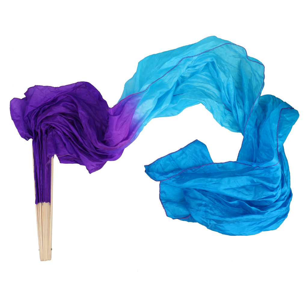 Gradient Flame Belly Dancing Silk Fan Veil For Party Stage Performance #3