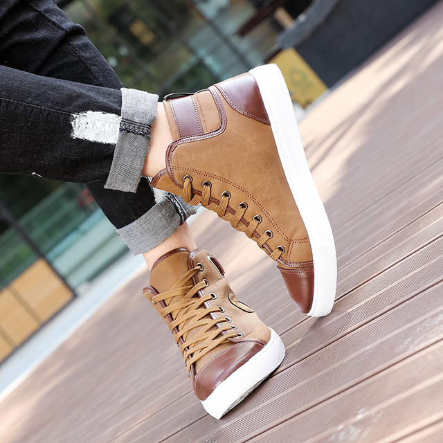 New Arrive Men Causal Shoes Autumn Winter Front Lace-Up Leather Ankle Boots Shoes Man Casual High Top Canvas Men MC004--2 2