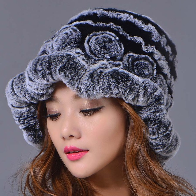 2016 New Fashion Female Rex Rabbit Fur Casual Hat Women Winter Elegant Beanies Hat  Color Genuine Caps  Caps