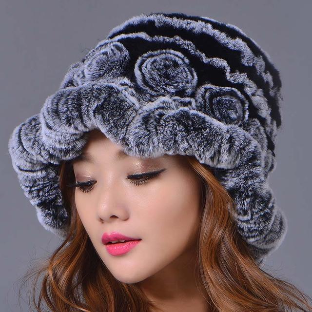 2016 Nova Moda Feminina Rex Rabbit Fur Chapéu Ocasional Mulheres Gorros Chapéu de Inverno Elegante Cor Genuine Caps Caps