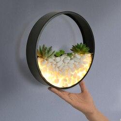 Żelaza sztuki okrągły sypialnia lampki nocne ściany lampy proste nowoczesny salon badania doprowadziły kinkiet światła ścienne kreatywny ozdobny kamień lampy ścienne
