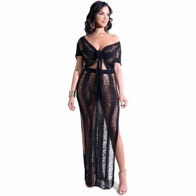 Double Side Slit 2 Piece Set Beach Dress Summer Knit See Through Short  Sleeve V Neck Maxi Bodycon Dresses Women Vetement Femme de5e96e9ddab