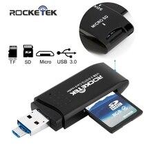 Rocketek usb 3.0 multi 2 in 1 memory otg phone card reader 5Gbps adapter for SD/