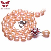Real Natural Pink Pearl Jewelry Necklace 925 Sterling Silver Women Necklace Red White Flower Zircon Pendant