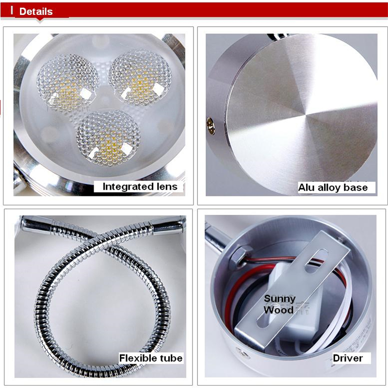 Free shipping 3 years warranty 3W led wall lamp,lamps for home modern,wall mounted bedside reading lights white M020