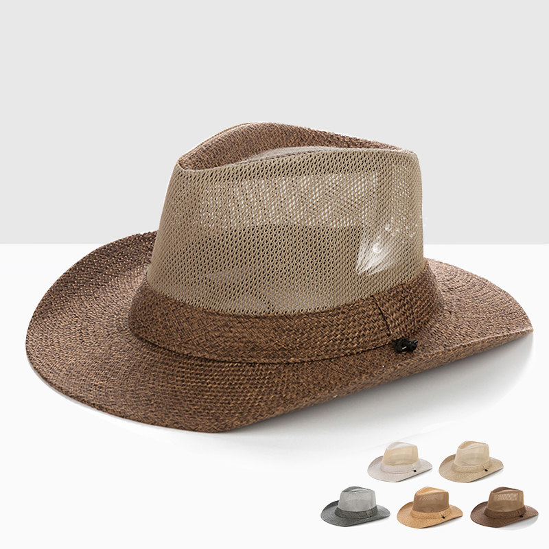 Male Outdoor Sun Hat Wide Brim Men's Summer Leisure Straw Hat Breathable Sunshade Hat Men's Summer Raffia Sun Hat  B-8283